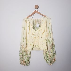 Free People Final Rose Floral Ruch Yellow Blouse